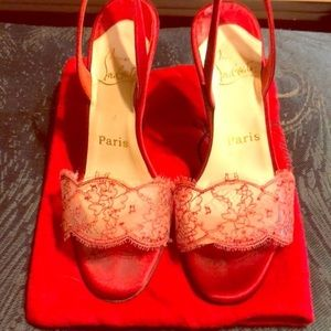 CHRISTIAN LOUBOUTIN RED LACE HEELS 36 DUST BAG